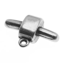 Antiqued Silver Plated Charm Holder Connector For Rubber Regaliz 10mm Cord - 1 Piece
