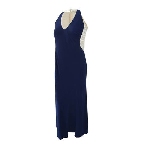Xscape Women's Plus Size Illusion Beaded-Back Gown - Navy/Nude/Silver