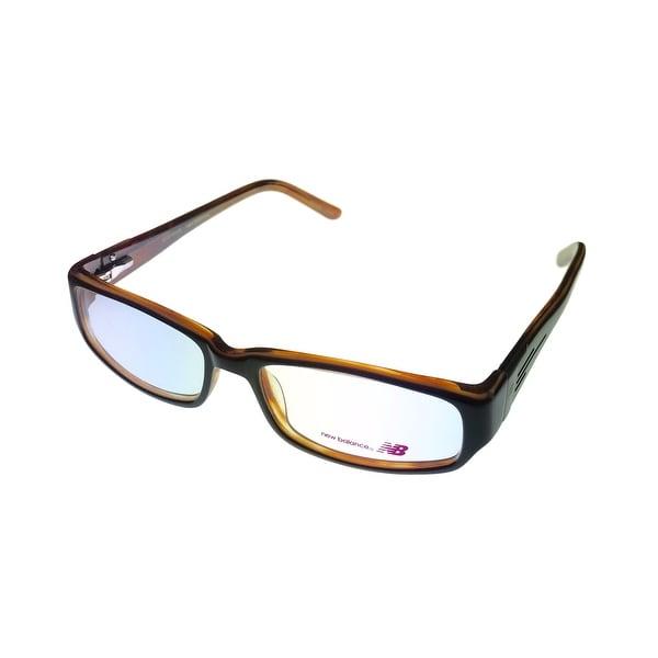 New Balance Mens Opthalmic Eyeglass Rectangle Plastic Medium Brown 431 1