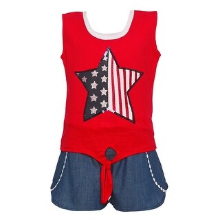 Girls Red White Blue Star Flag Print Patriotic 2 Pc Shorts Outfit