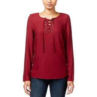 Kensie Womens Pullover Top Lace-Up Long Sleeves