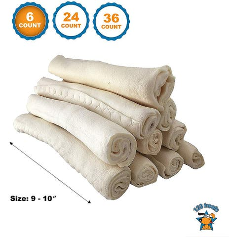 Premium natural Rawhide Retriever Rolls for Dogs 9-10 inches (6, 24 0r 36 Count)