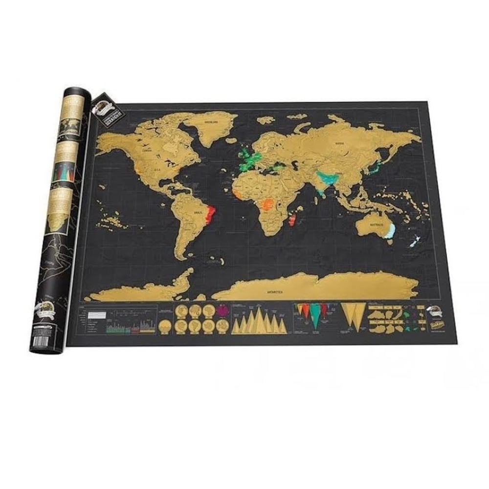 World Map With Countries: History Of Your Travels In An Interactive Format : Scratch map of world visited countries