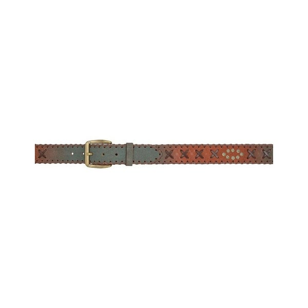 3D Belt Mens Western Roughout Lacing Nailheads Rustic Brown Turq