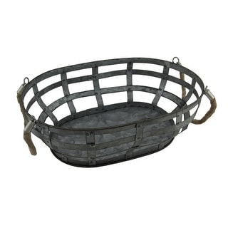 Galvanized Woven Metal Basket with Rope Handles