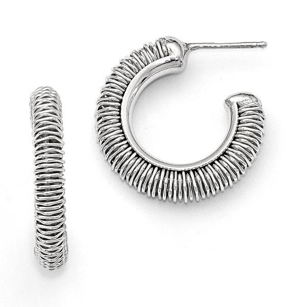 Italian Sterling Silver Rhodium-plated Plated Fancy Earrings