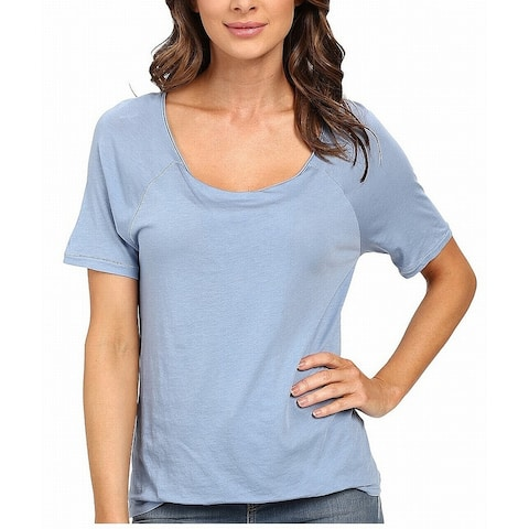 Splendid Womens Top Blue Size Large L Front Tuck Short Sleeve Knit
