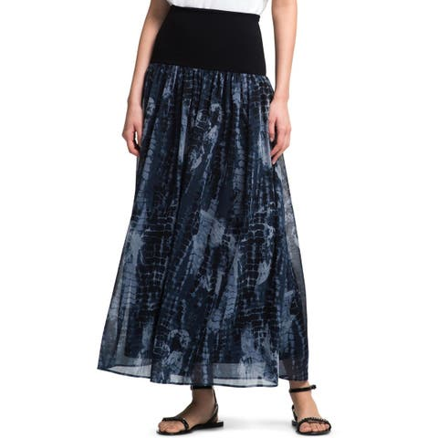 DKNY Womens Maxi Skirt Tye-Dye Banded