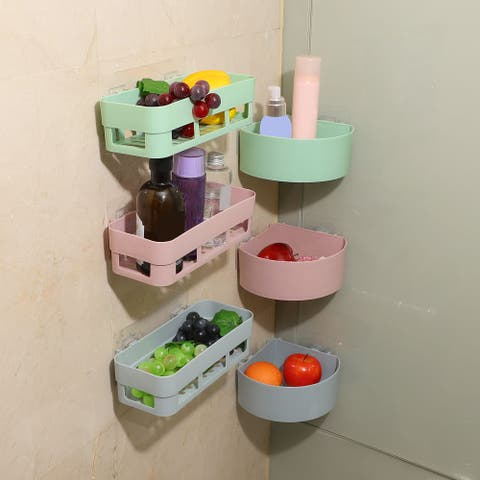 Wall Mount Plastic Shower Basket Rack Bin Storage Organizer Holder Shelf
