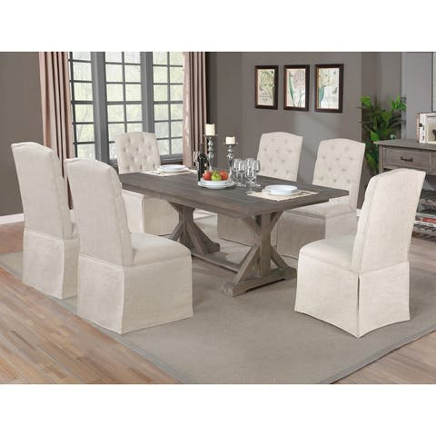 Best Quality Furniture Rustic Grey Skirted Chair Dining Set