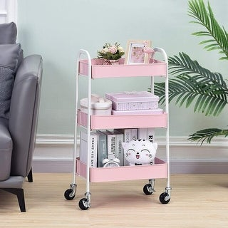 3 Tier Metal Utility Rolling Cart with Handles and Locking Wheels