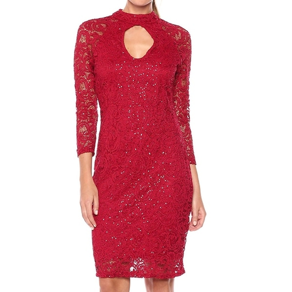 367048dedf588 Shop Marina Red Womens Size 16 Lace Sequined Mock Neck Sheath Dress ...