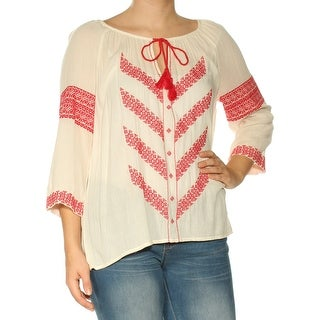 2e1ed6e70 Shop LUCKY BRAND Womens White Embroidered Kimono Sleeve Keyhole Top Size: S  - Free Shipping On Orders Over $45 - Overstock - 25635729