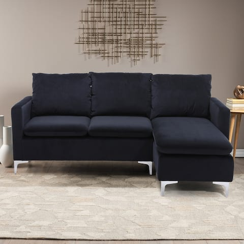 Polyester Upholstered L-Shaped Sectional Sofa With Ottoman