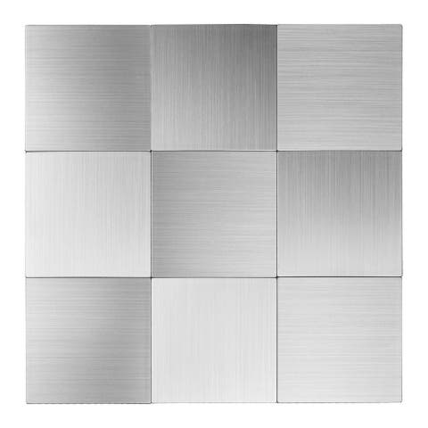 "Art3d 12""x12"" Peel and Stick Metal Tile- Square Aluminium Silver(10-Pack)"
