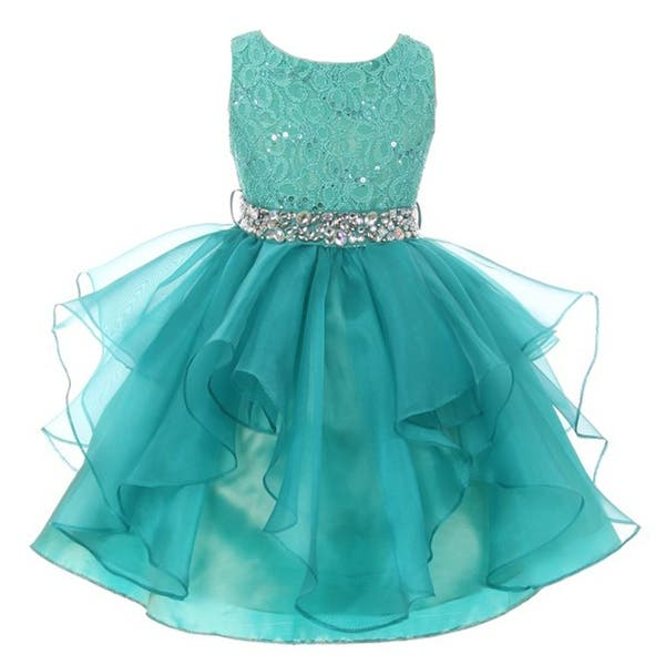 425ac468d4 Girls Jade Stretch Lace Crystal Tulle Ruffle Junior Bridesmaid Dress ...