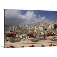 Premium Thick-Wrap Canvas entitled Potted plants on the ledge of a balcony, Termini Imerese, Palermo, Sicily, Italy