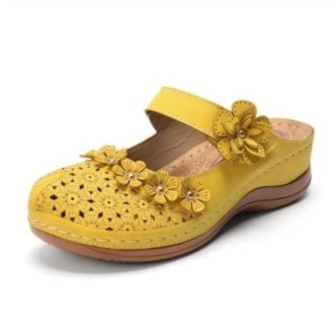 Leather Floral Sandals Flats