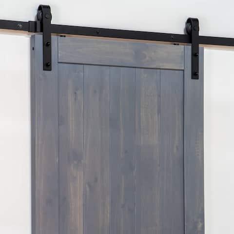 "Ageless Iron BD_KIT 78-3/4"" Barn Door / Sliding Door Hardware Track - Black Iron"