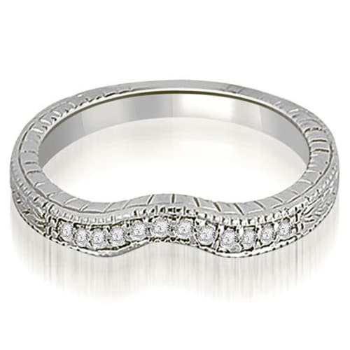 0.15 cttw. 14K White Gold Antique Cathedral Round Curve Diamond Wedding Band