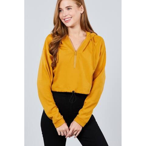 Cali Chic Women's Sweatshirt Hoodies Celebrity Mustard Zip Up Inner Fleece Toggle Elastic Hem Crop Top