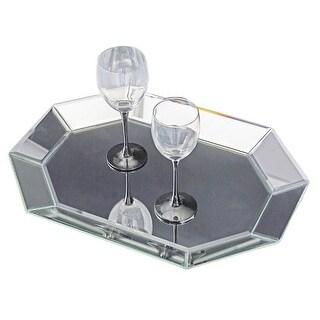 "Howard Elliott Octagonal Decorative Mirrored Tray 19"" Wide Glass and Wood Tray"