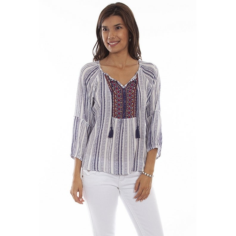 Scully Western Shirt Womens 3/4 Sleeve Peasant Embroidered Navy