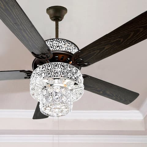 """Silver Orchid March Silver Punched Metal and Clear Crystal Ceiling Fan - 52""""L x 52""""W x 21""""H - 52""""L x 52""""W x 21""""H"""