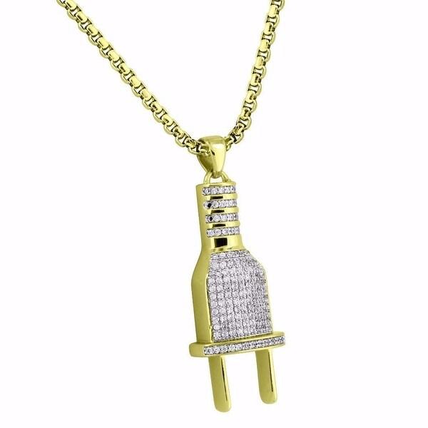 Switch Plug Pendant 18k Gold Tone Socket Lab Diamonds Steel Box Chain