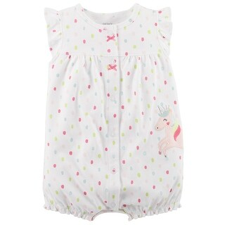Carter's Baby Girls' Unicorn Snap-Up Cotton Romper, 18 Months