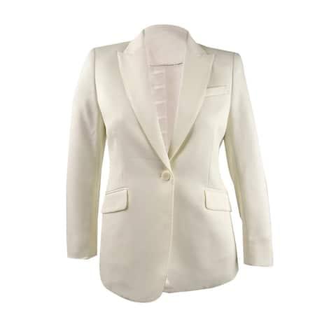 Anne Klein Women's One-Button Blazer Jacket (12, White)