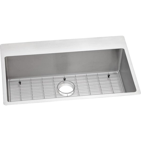 Elkay Ectsrs33229tbg Crosstown Universal Installation Single Basin Stainless Steel Kitchen Sink With Sound Dampening N