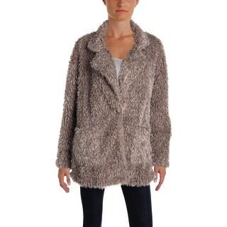 Bobeau Womens Salma Faux Fur Coat Winter Warm