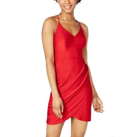 B. Darlin Womens Sheath Dress Bright Red Size 6 Racerback Wrap-Skirt