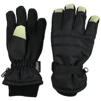 NICE CAPS Kids Glow in the Dark Fingertip Waterproof Thinsulate Winter Gloves - Black