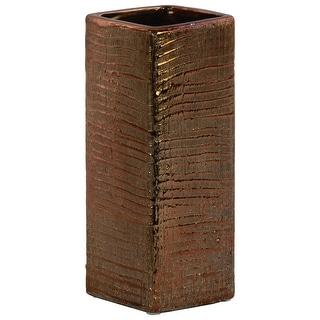 Ceramic Tall Square Ribbed Design Vase In Distressed Copper Finish