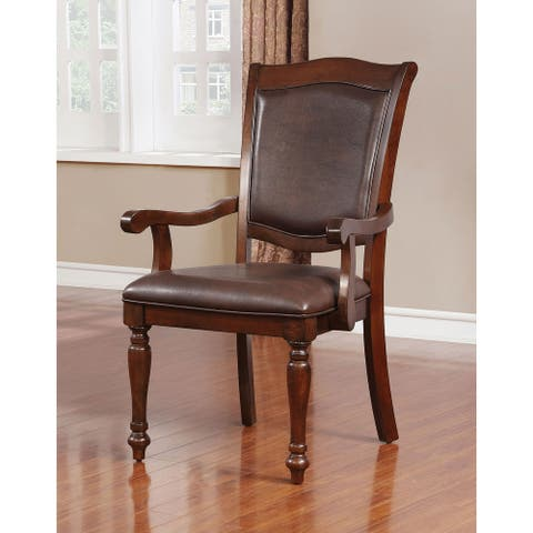 Furniture of America Roke Traditional Cherry Arm Chairs (Set of 2)