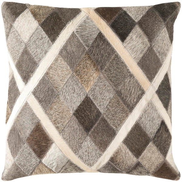 "18"" Cedar Brown and Horizon Gray Herd Raw Hide Decorative Throw Pillow"