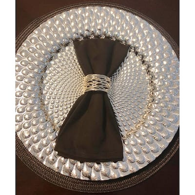 Handmade Artisan Crafted Mesh Metal Dining Napkin Rings Silver