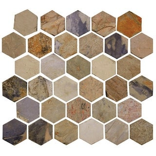 "Daltile S22BHVMSP Slate Collection - 2"" x 2"" Hexagon Mosaic Multi-Surface Tile - Unpolished Slate Visual"