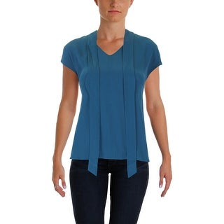 Eileen Fisher Womens Petites Dress Top Tie Front Cap Sleeve