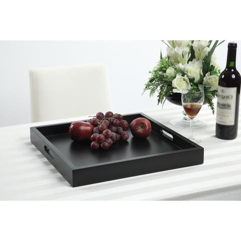 Porch & Den Pleasant Contemporary Wood Serving Tray with Handles