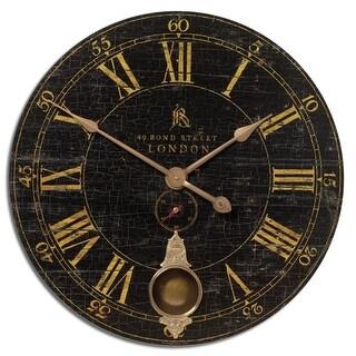 "30"" Crackled Black and Cast Brass Internal Pendulum Wall Clock"