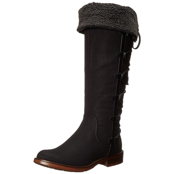 XOXO Womens Selby Leather Closed Toe Mid-Calf Riding Boots