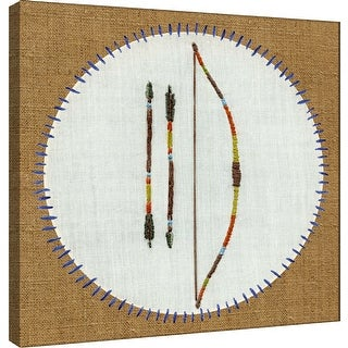 """PTM Images 9-100501  PTM Canvas Collection 12"""" x 12"""" - """"Vintage Camping Embroidery A"""" Giclee Archery Badge Art Print on Canvas"""