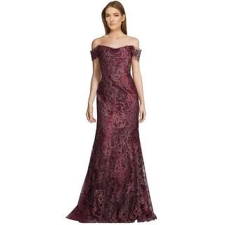 Rene Ruiz Embellished Off Shoulder Evening Ball Gown Dress Claret