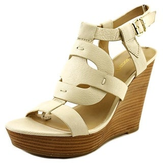 Sole Society Kandice Open Toe Leather Wedge Heel