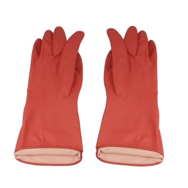 Pair Household Assistant Antislip Clean Wash Latex Rubber Gloves Red