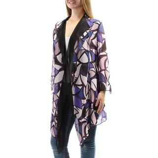 ANNE KLEIN $89 Womens New 1108 Purple Sheer Handkerchief Casual Top 14 B+B