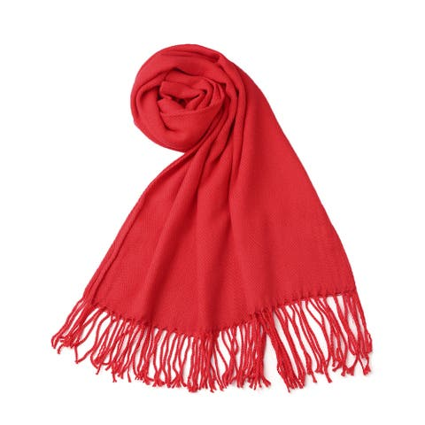 Women Shawl Wrap Scarf Tasseled Fringe Pashmina Soft Warm Red - Red-Pure Tassels - One Size